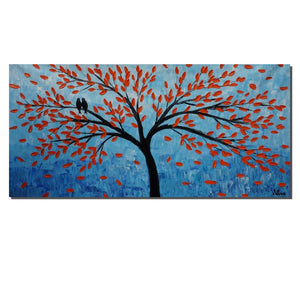 Large Canvas Art, Oil Painting, Wall Decor, Canvas Art, Abstract Oil Painting, Modern Painting, Tree Art, Original Artwork, Love Birds Art