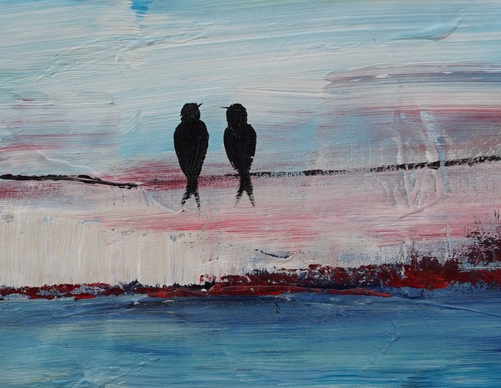 Love Birds Art, Acrylic Painting, Bedroom Decor, Original Painting,  Painting Abstract, Large Wall Decor, Modern Painting, Canvas Painting
