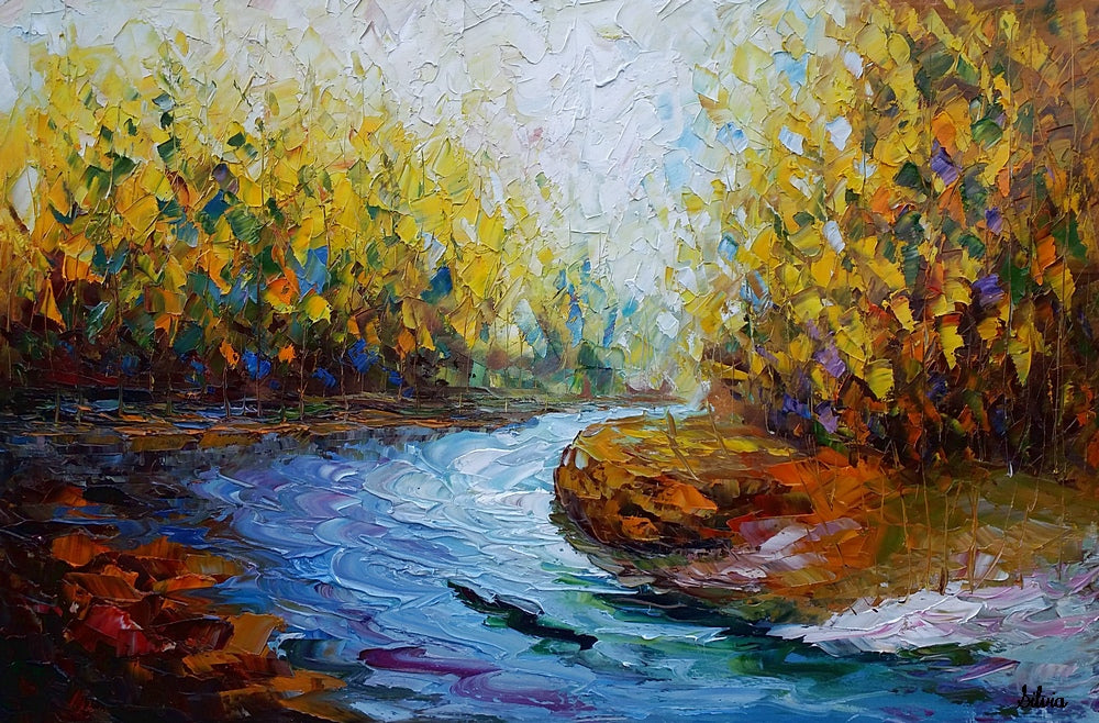 Landscape Art Autumn River Abstract Painting Oil