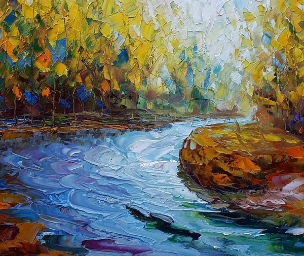 Landscape Art, Autumn River, Abstract Painting, Oil Painting, Modern Art, Canvas Wall Art, Abstract Canvas Art, Original Artwork, Large Art, Abstract Landscape Painting