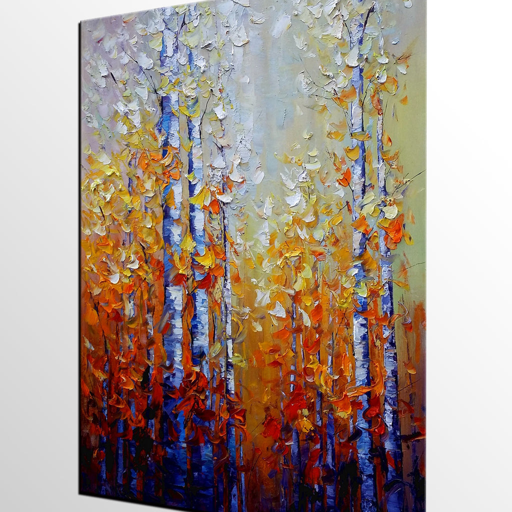 Abstract Painting, Autumn Tree Painting, Landscape Art, Large