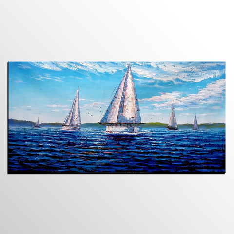 Large Canvas Art, Seascape Painting, Blue Sea Sail Boat Painting, Canvas Painting, Abstract Art, Large Painting On Canvas, Contemporary Art, Original Art