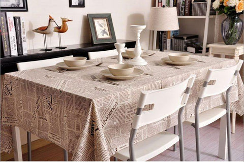 NEWS LETTER - Black White Tablecloth, Table Linen Wedding Home Decor Dining Kitchen