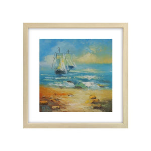 Art Painting, Sail Boat at Seashore, Small Oil Painting, Canvas Painting, Small Painting