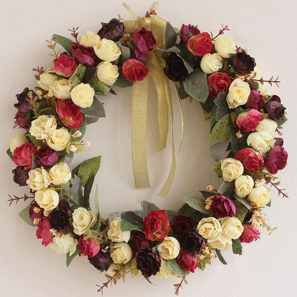 Wine Red Rose Flower Wreath, Artificial Silk Flower Wreath for Home Decoration