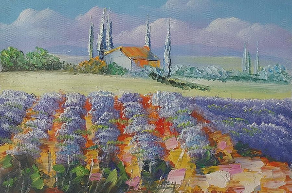 Landscape Art Painting, Lavender Field Painting, Canvas Painting, Small Painting