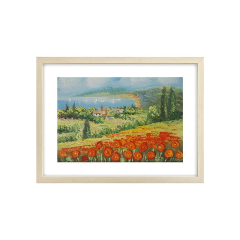 Red Poppy Field Painting, Landscape Painting, Heavy Texture Art Painting, Small Painting