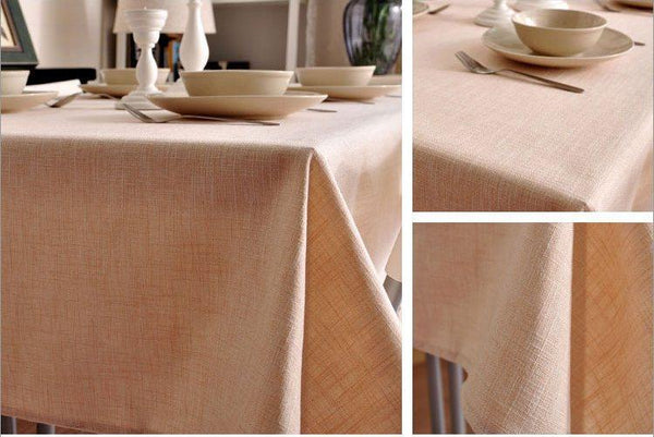 Beige Color Linen Tablecloth, Rustic Wedding , Handmade Tablecloth, Table Cover - Art Painting Canvas