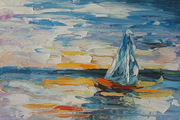Canvas Painting, Heavy Texture Oil Painting, Sail Boat Painting, Small Painting - Art Painting Canvas