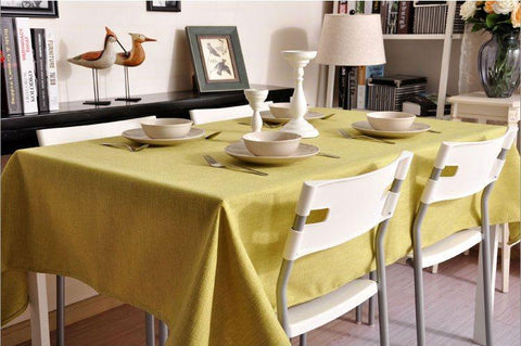 Green Color Linen Tablecloth, Natural Rustic Wedding, , Handmade Tablecloth