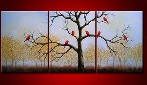 Landscape Painting, Bird Art Painting, 3 Piece Canvas Painting, Wall Art, Large Painting, Living Room Wall Art, Modern Art, Tree of Life Painting