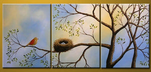 Bird Art, Canvas Painting, Modern Art, 3 Piece Wall Art, Abstract Painting, Tree of Life Painting - Art Painting Canvas