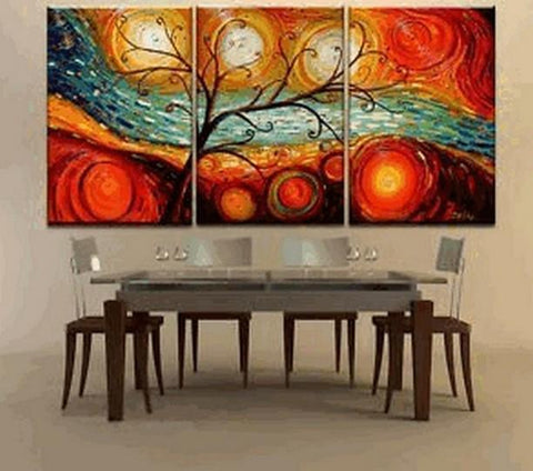 Abstract Art, Canvas Painting, Modern Art, 3 Piece Canvas Art, Tree of Life Painting, Colorful Tree Painting