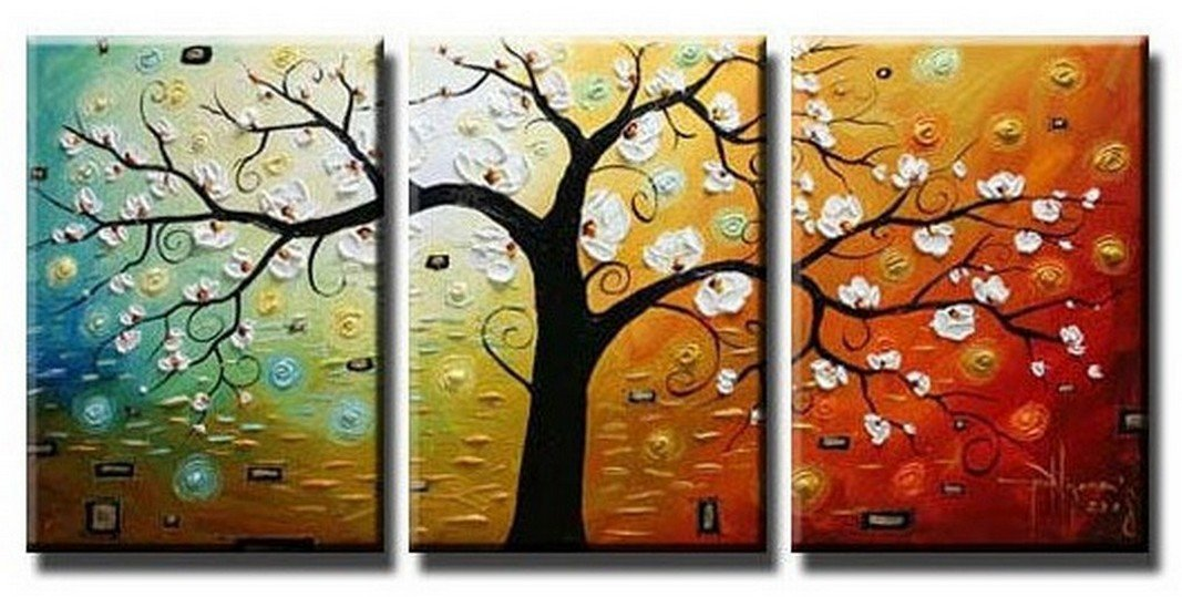 Abstract Art, Canvas Painting, Wall Art, Large Painting, 3 Piece Canvas Art, Tree of Life Painting - Art Painting Canvas