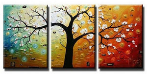 Abstract Art, Canvas Painting, Wall Art, Large Painting, 3 Piece Canvas Art, Tree of Life Painting