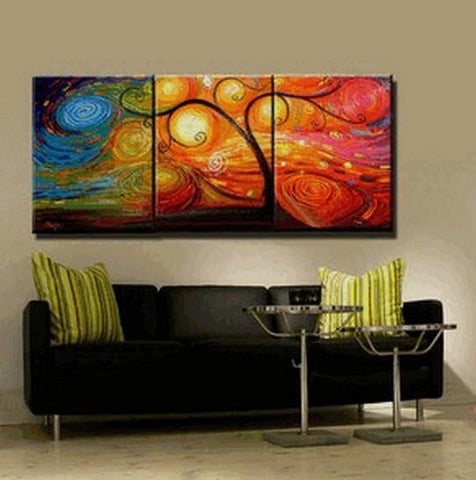 Abstract Painting, Canvas Painting, Living Room Wall Art, 3 Piece Canvas Art, Tree of Life Painting, Colorful Tree - Art Painting Canvas