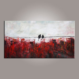 Abstract Art, Love Birds Painting, Painting for Sale, Modern Art, Contemporary Art, Buy Abstract Art - Art Painting Canvas