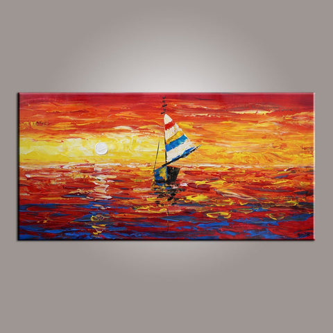 Contemporary Art, Art on Canvas, Boat Painting, Modern Art, Art Painting, Abstract Art, Dining Room Wall Art, Canvas Art, Art for Sale