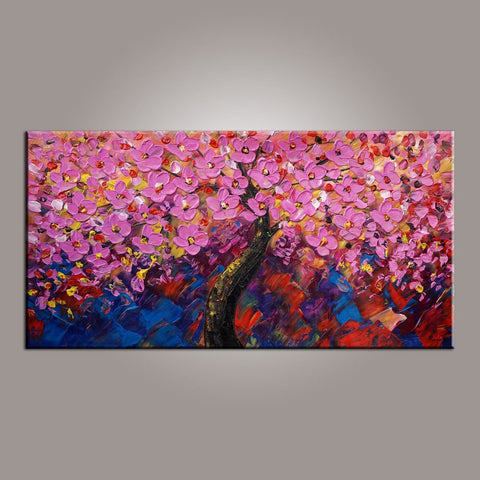 Painting for Sale, Tree Painting, Abstract Art Painting, Flower Oil Painting, Canvas Wall Art, Bedroom Wall Art, Canvas Art, Modern Art, Contemporary Art