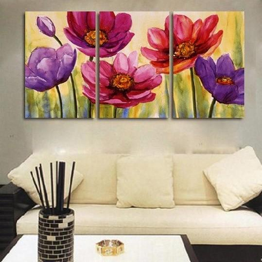 Flower Art, Floral Painting, Canvas Painting, Original Art, Large Painting, Abstract Oil Painting, Living Room Art, Modern Art, 3 Piece Wall Art, Abstract Painting