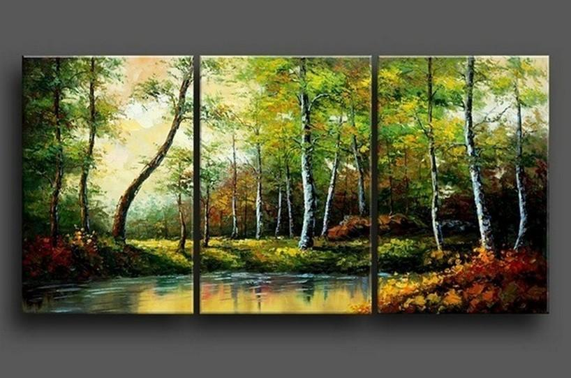 Abstract Painting, Contemporary Art, Landscape Painting, Forest Tree, Canvas Painting, Wall Art, Large Painting, Living Room Wall Art, Modern Art, 3 Piece Wall Art - Art Painting Canvas