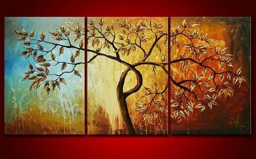 Canvas Painting, Original Art, Abstract Oil Painting, 3 Piece Wall Art, Abstract Painting, Tree of Life Painting - Art Painting Canvas