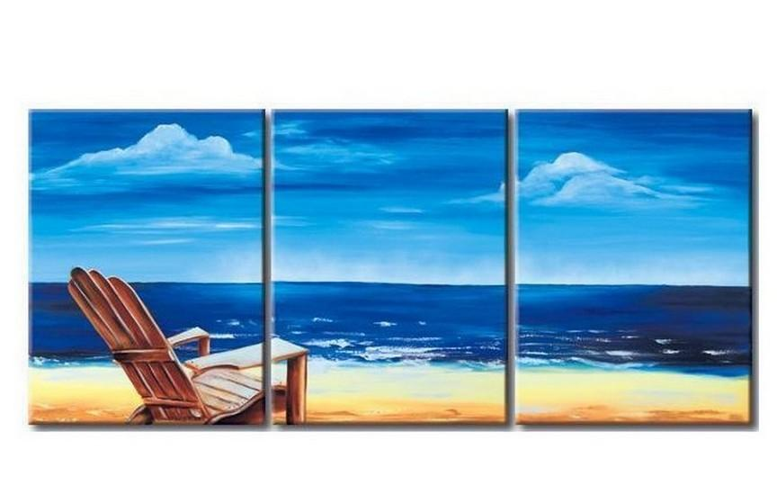 Mediterranean Sea, Seashore Painting, Landscape Painting, Large Painting, Living Room Wall Art, Modern Art, 3 Piece Wall Art, Abstract Painting, Wall Hanging