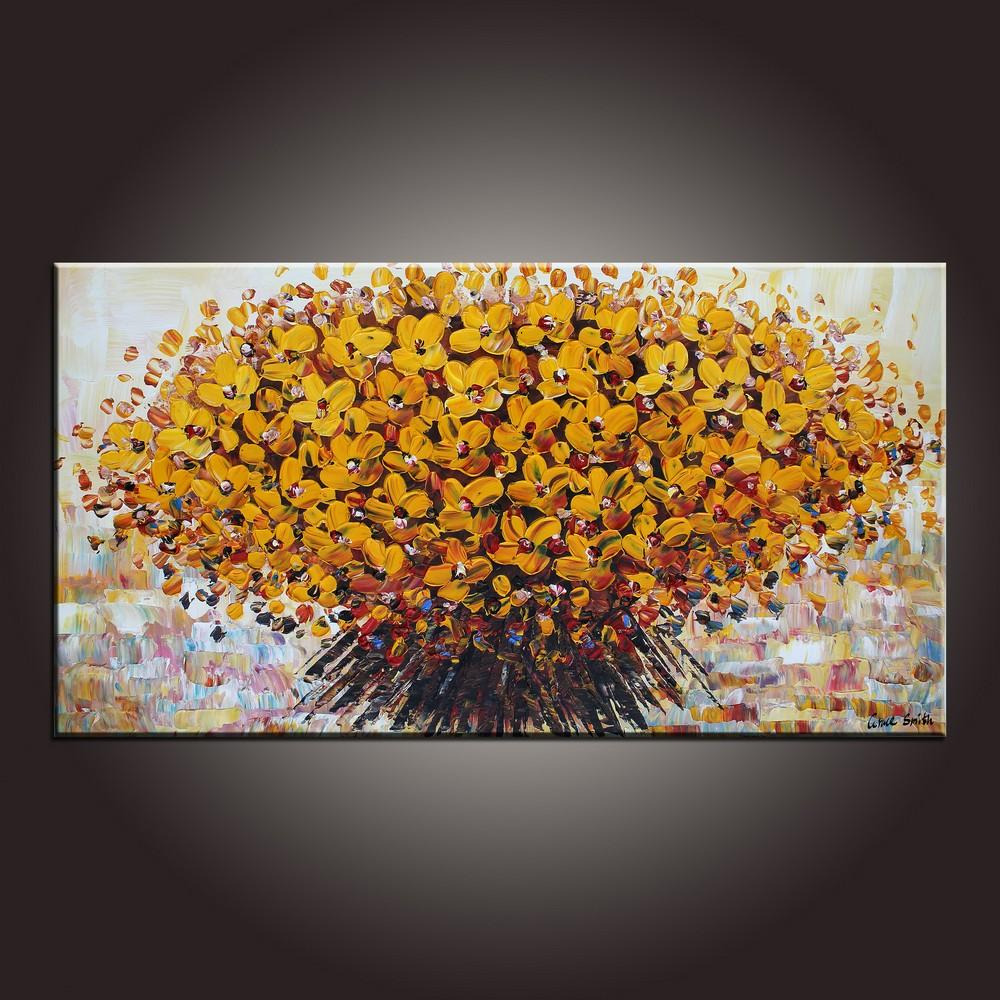Contemporary Art, Flower Painting, Modern Art, Art on Canvas, Abstract Art Painting, Canvas Wall Art, Dining Room Wall Art, Canvas Art