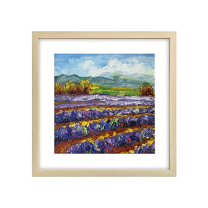 Abstract Art Painting, Lavender Field Painting, Canvas Painting, Small Painting