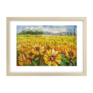 Abstract Landscape Painting, Heavy Texture Painting, Sunflower Painting, Small Painting
