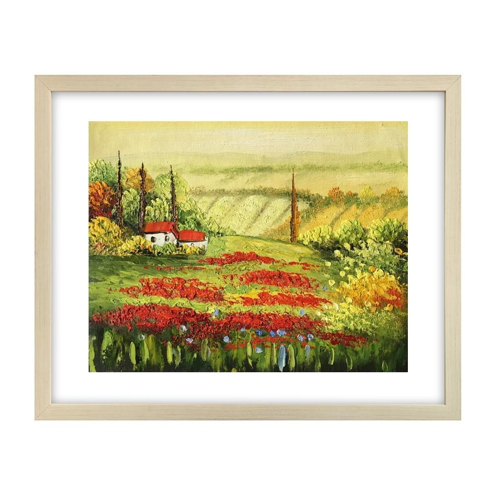 Red Poppy Field Painting, Landscape Art Painting, Canvas Painting, Small Painting