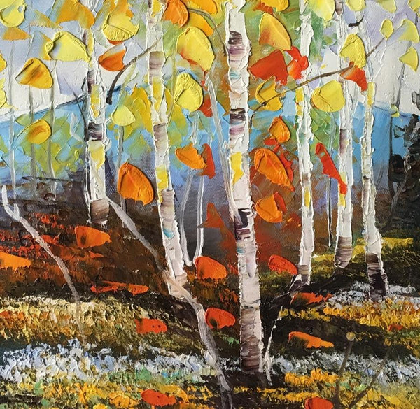 Small Landscape Painting, Heavy Texture Painting, Birch Tree Painting, Small Art