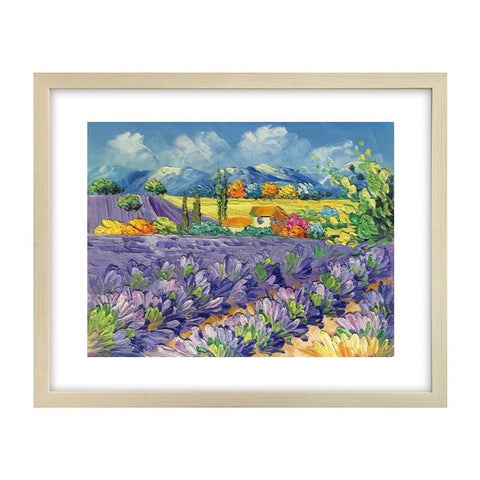 Abstract Landscape Painting, Lavender Field Painting, Original Painting, Small Art Painting