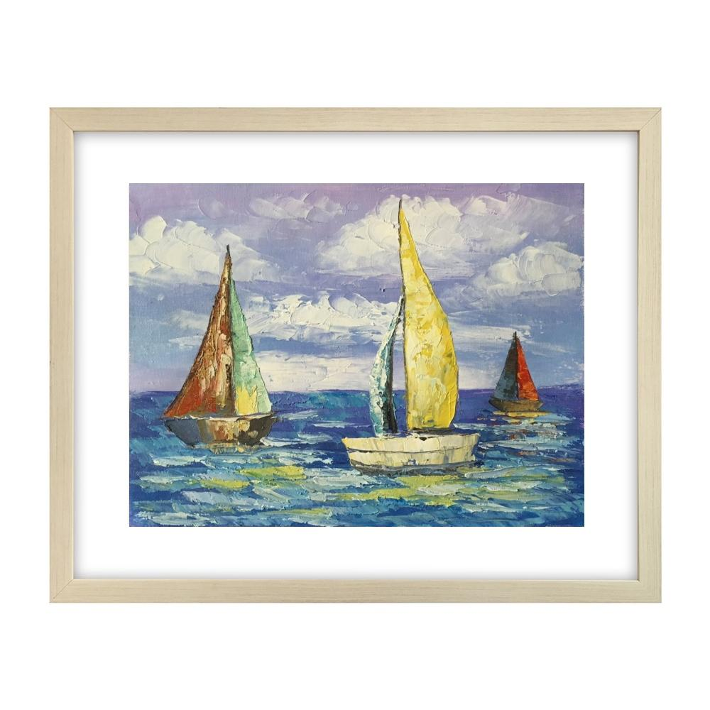 Canvas Art Painting, Modern Art, Sail Boat Painting, Original Painting, Small Art Painting