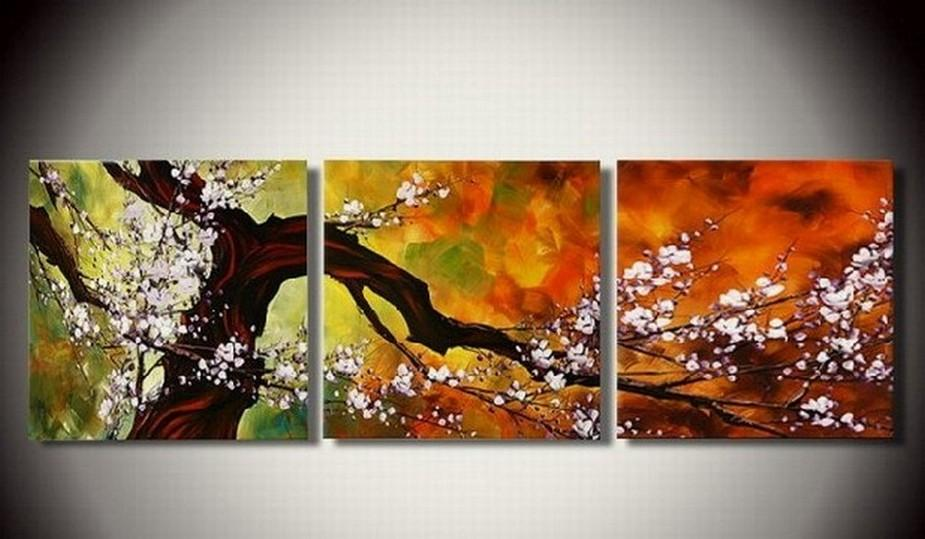 Abstract Art, Plum Tree in Full Bloom, Large Oil Painting, Living Room Wall Art, Modern Art, 3 Piece Wall Art