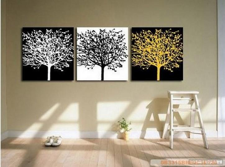 Black and White Art, Abstract Painting, 3 Piece Canvas Painting, Modern Art, Huge Painting, Tree of Life Art Painting