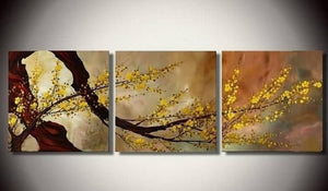 Abstract Art, Plum Tree in Full Bloom, Flower Art, Abstract Painting, Canvas Painting, Wall Art, 3 Piece Wall Art