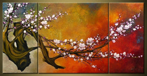 Wall Art, Abstract Art, Flower Oil Painting, Plum Tree, Canvas Painting, Large Oil Painting, Living Room Wall Art, Modern Art, 3 Piece Wall Art, Huge Art