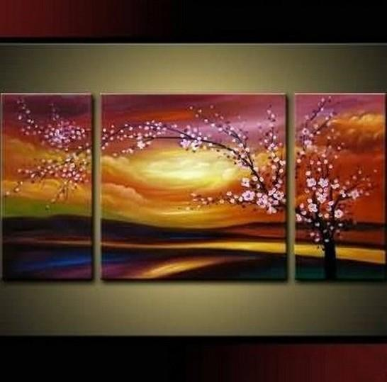Flower Oil Painting, Plum Tree, Wall Art, Abstract Art, Canvas Painting, Large Oil Painting, Living Room Wall Art, Modern Art, 3 Piece Wall Art, Huge Art
