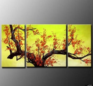 Flower Painting, Plum Tree, Wall Art, Abstract Art, Canvas Painting, Large Oil Painting, Living Room Wall Art, Modern Art, 3 Piece Wall Art, Huge Art