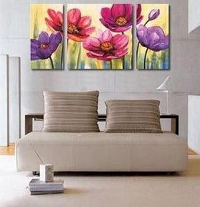 Flower Painting, Canvas Wall Art, Abstract Art, Canvas Painting, Large Oil Painting, Living Room Wall Art, Modern Art, 3 Piece Art, Huge Art