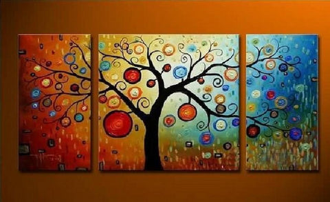 Heavy Texture Painting, Tree of Life Painting, 3 Piece Canvas Painting, Extra Large Painting, Huge Art