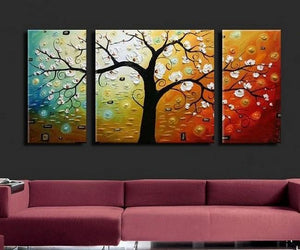 3 Piece Abstract Art, Tree of Life Painting, Canvas Painting, Large ...