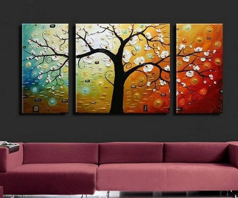 3 Piece Abstract Art, Tree of Life Painting, Canvas Painting, Large Oil Painting, Living Room Wall Art, Contemporary Art, Huge Art