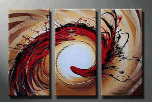 Colorful Lines, Large Painting, Living Room Wall Art, Contemporary Art, 3 Piece Oil Painting, Large Wall Art, Ready to Hang