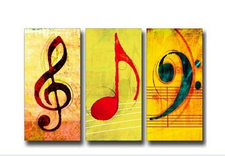 Musical Notes, Abstract Painting, Large Painting, Living Room Wall Art, Contemporary Art, 3 Piece Oil Painting, Canvas Wall Art, Ready to Hang