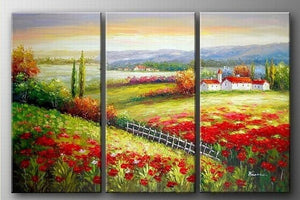 Landscape Art, Italian Red Poppy Field, Canvas Painting, Landscape Painting, Oil on Canvas, 3 Piece Oil Painting, Large Wall Art