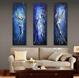 3 Piece Wall Art, Golf Player Painting, Sports Abstract Art, Bedroom Abstract Painting, Acrylic Art, Canvas Art