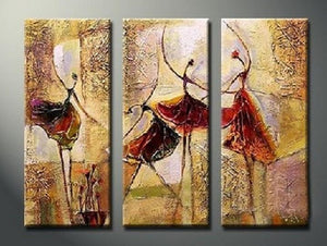Bedroom Wall Art, Canvas Painting, Ballet Dancer Painting, Abstract Figure Art, Acrylic Art, 3 Piece Wall Art - Art Painting Canvas