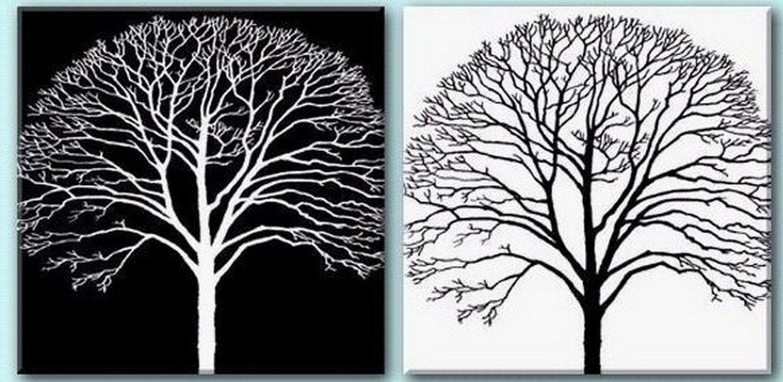 Tree Painting Black And White Art Abstract Art Abstract Painting Wall Art Wall Hanging Dining Room Wall Art Modern Art Hand Painted Art